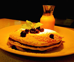 Breakfast - Buttermilk Blueberry Pancake Stack.