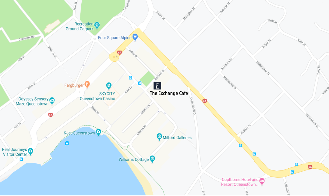 Location map of The Exchange Cafe at 39 Ballarat Street Queenstown New Zealand.
